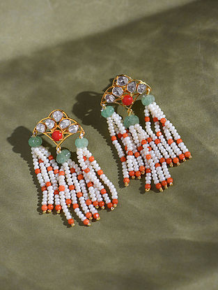 Gold And Polki Earrings With Emerald Coral And Pearls