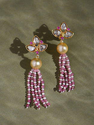 Gold And Diamonds Polki Earrings With Pink Sapphires South Sea Pearls Tourmaline And Pearls