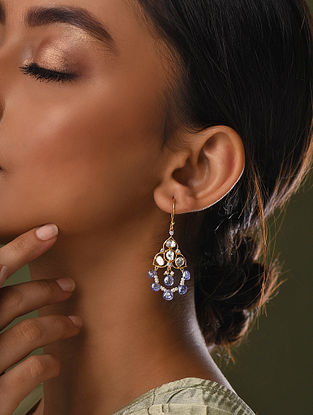 Gold And Diamond Polki Earrings With Tanzanite And Pearls