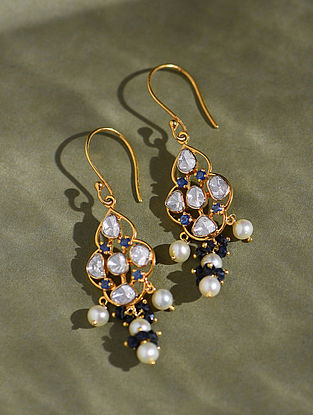 Gold And Diamond Polki Earrings With Sapphire And Pearls