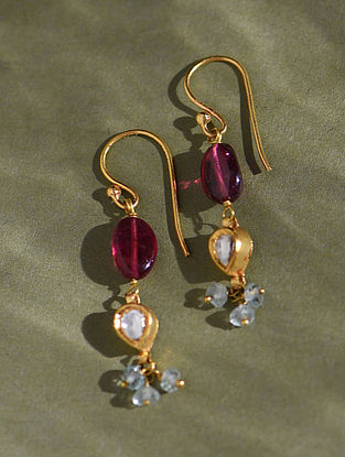 Gold And Diamond Polki Earrings With Tourmaline And Aquamarine