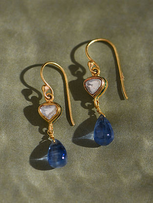 Gold And Diamond Polki Earrings With Kynite