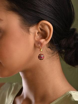 Gold Ruby Embedded Earrings