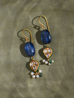 Gold And Diamond Polki Earrings With Kynite Emeralds And Pearls