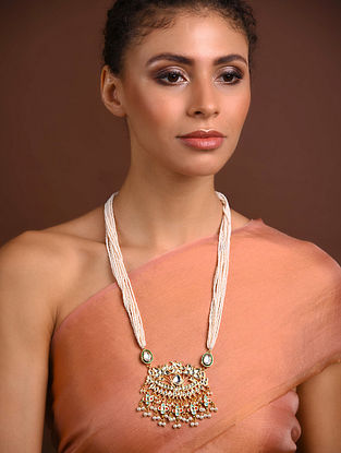 White Gold Tone Kundan Beaded Necklace