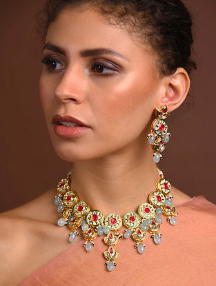 Red Blue Gold Tone Kundan Necklace With Earrings