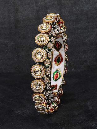 Multicolored Gold Tone Kundan Enameled Bangle