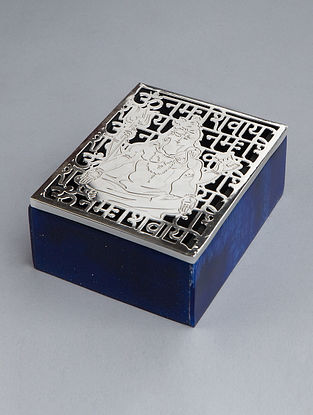 Shiva Silver Plated Brass and Compressed Stone Box (L - 5in, W - 4in, H - 2.25in)