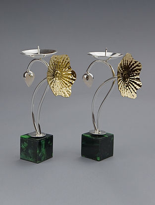 Lotus Silver Plated Brass Candle Stand with Green Aveturine Base (L - 7.5in, W - 4in, H - 4in)