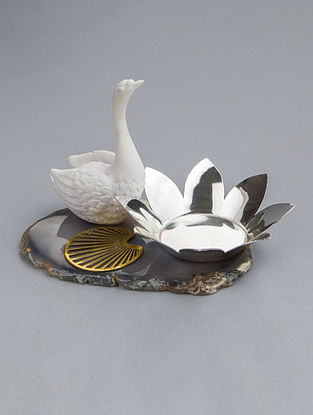 Swan Silver Plated Brass and Agate Stone T-Light Holder (L - 5.5in, W - 3.75in, H - 4in)