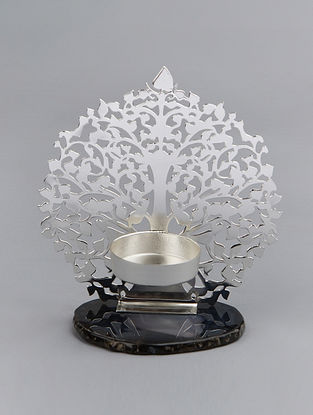 Tree of Life Silver Plated Brass and Agate Stone T-Light Holder (L - 4.75in, W - 4in, H - 5.25in)
