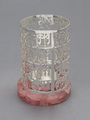 Vakratund Mantra Silver Plated Brass and Rose Quartz Stone T-Light Holder (Dia - 3in, H - 4in)
