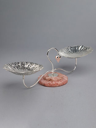Lotus Leaf Silver Plated Brass and Rose Quartz Stone Duo Nut Bowl (L - 15in, W - 5.5in, H - 5in)