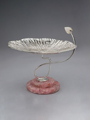 Lotus Leaf Silver Plated Brass and Rose Quartz Stone Platter (Dia - 9in, H - 7in)
