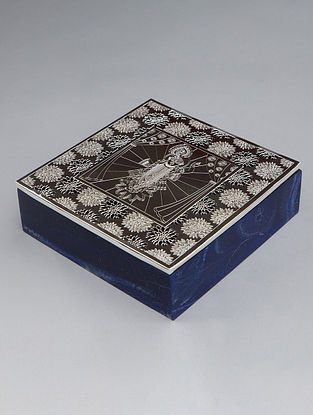 Shri Nath Ji Silver Plated Brass and Compressed Stone Box (L - 7in, W - 7in, H - 2.25in)