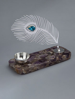 Mor Pankhi Silver Plated Brass and Amethyst Stone T-Light Holder (L - 7.25in, W - 3.25in, H - 5in)
