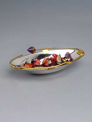 Silver Plated Steel and Amethyst Stone Bowl (L - 11in, W - 5.5in, H - 2in)
