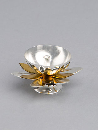 Flower Golden Silver Plated Steel Diya (L - 2.25in, W - 2.25in, H - 1.25in)