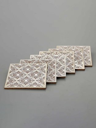 Silver Plated Brass and Cork Sheet Coasters (Set of 6) (L - 3.5in, W - 3.5in, H - 0.05in)