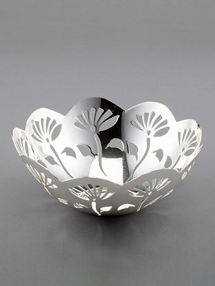 Lotus Silver Plated Brass Bowl (Dia - 5.75in, H - 2.75in)