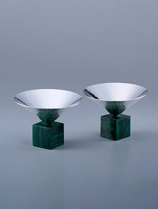 Cone Silver Plated Hammered Brass and Compressed Stone Bowls (Set of 2) (Dia - 5in, H - 3.5in)