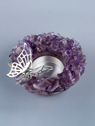 Butterfly Silver Plated Brass and Amethyst Stone T-Light Holders (Set of 2) (Dia - 4.25in, H - 1.5in)