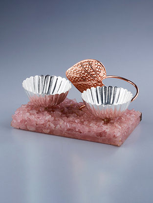 Mukhwas Silver Plated Brass and Rose Quartz Stone Bowl (L - 6.5in, W - 5.25in, H - 3.5in)