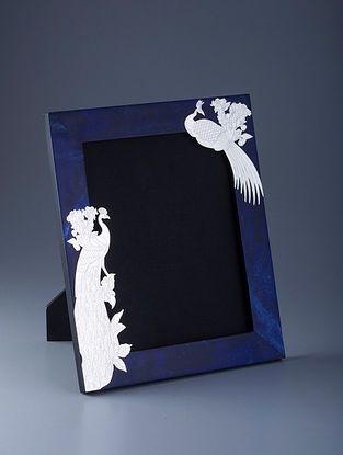 Peacock Silver Plated Brass and Compressed Stone Photo Frame (L - 12.5in, W - 10.5in, H - 0.75in)