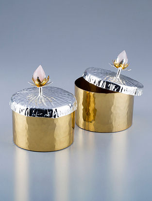Lotus Golden Silver Plated Brass and Rose Quartz Stone Jars (Set of 2) (Dia - 4in, H - 4.5in)