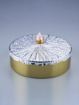 Lotus Golden Silver Plated Brass and Rose Quartz Stone Box (Dia - 7in, H - 4in)