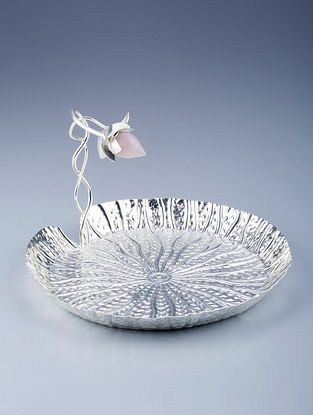 Lotus Bud Silver Plated Brass and Rose Quartz Stone Platter (Dia - 7in, H - 5.5in)