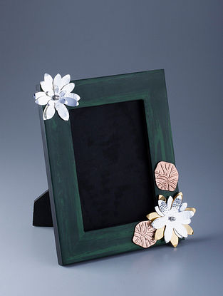 Flower Silver Plated Brass and Compressed Stone Photo Frame