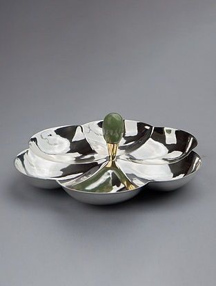 Flower Silver Plated Steel and Green Aventurine Stone Platter
