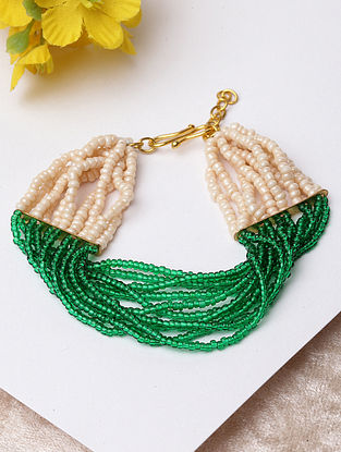 Green White Beaded Bracelet