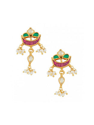 Maroon Green Gold Plated Sterling Silver Earrings with Pearls