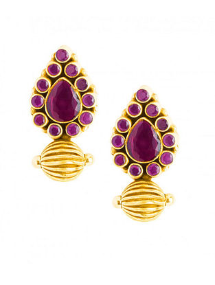 Maroon Gold Plated Sterling Silver Earrings