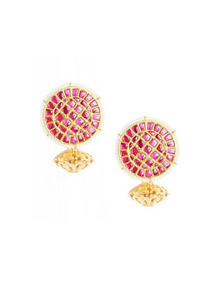 Maroon Gold Plated Sterling Silver Earrings with Pearls
