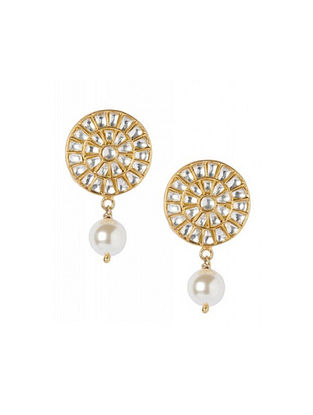 Gold Plated Kundan Sterling Silver Earrings with Pearls