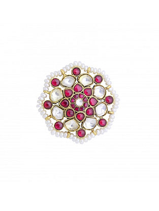 Maroon Gold Plated Kundan Sterling Silver Adjustable Ring with Pearls
