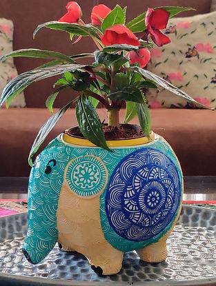 Eli Blue Handcrafted Ceramic Planter (Dia - 3.5in, H - 4.5in)