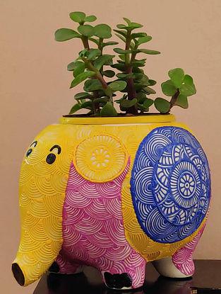 Eli Yellow Handcrafted Ceramic Planter (Dia - 3.5in, H - 4.5in)