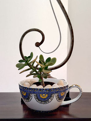 White Handcrafted Ceramic Cup Planter (Dia - 6in, H - 3.4in)