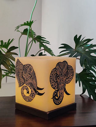 African Tusker Off-White Wax Hollow Shell and Wood Candle Holder (L - 5in, W - 5in, H - 6in)