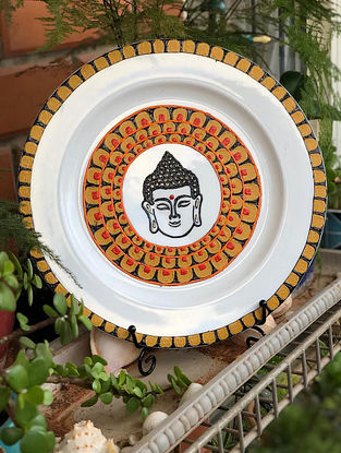 Buddha White Handcrafted Ceramic and Wood Wall Plate (Dia - 11in)