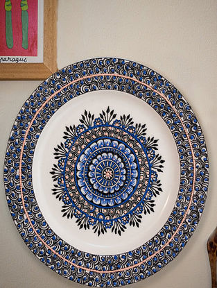 Indigo Flowers White Handcrafted Ceramic and Wood Wall Plate (Dia - 11in)