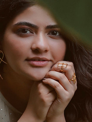 Gold Tone Handcrafted Rings (Set Of 2)