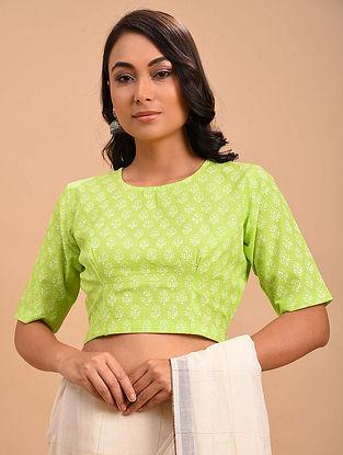 Green Block Printed Cotton Blouse