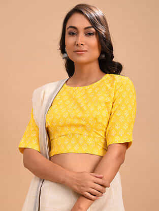 Yellow Block Printed Cotton Blouse