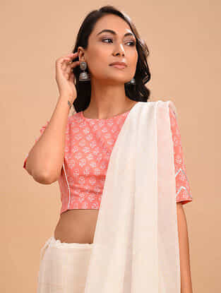 Pink Block Printed Cotton Blouse with Gota Work