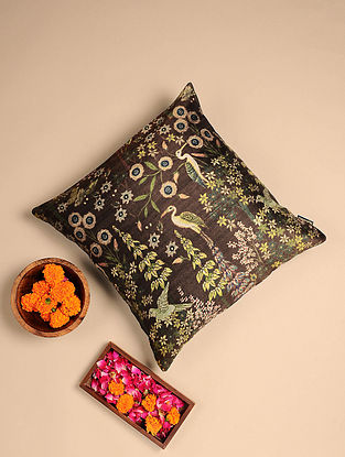 Purple Digital Printed Raw Silk Cushion Cover (Length - 16in, Width - 16in)